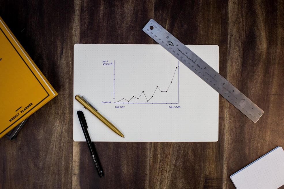 Piece of paper with a demand planning line graph on a table, next to a ruler and some pens [Unioncrate]