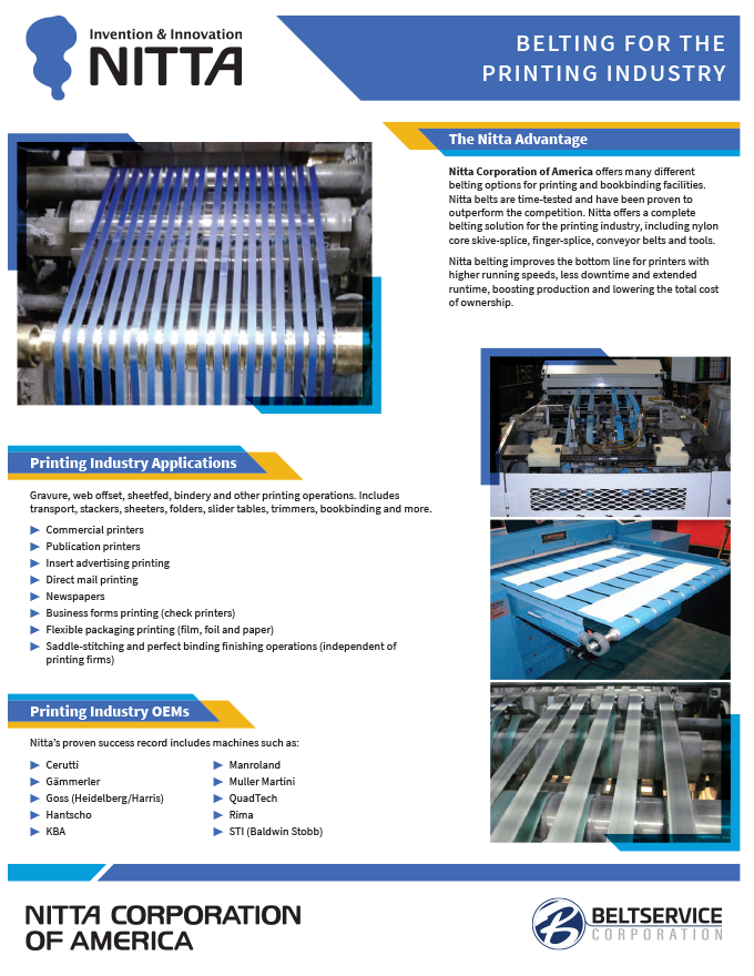 Nitta Belting for Printing Industry