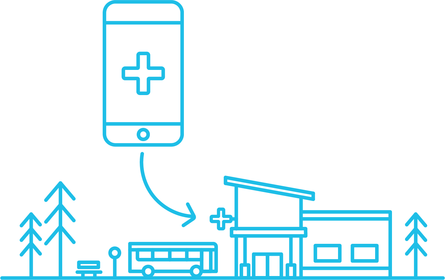 app in an smartphone and a clinic bellow