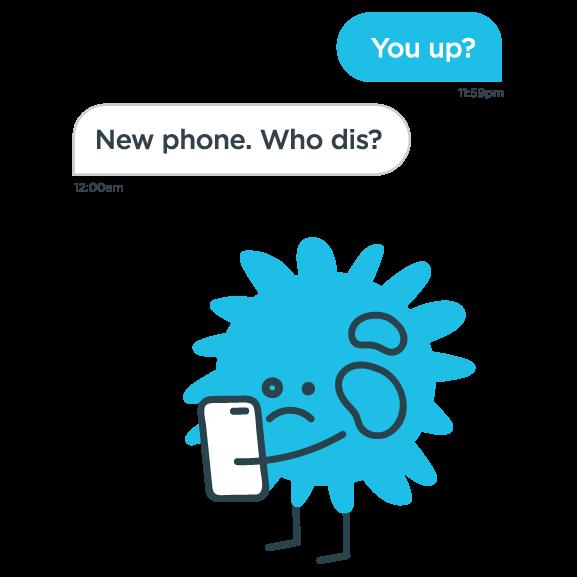 A flu virus illustration whit a phone