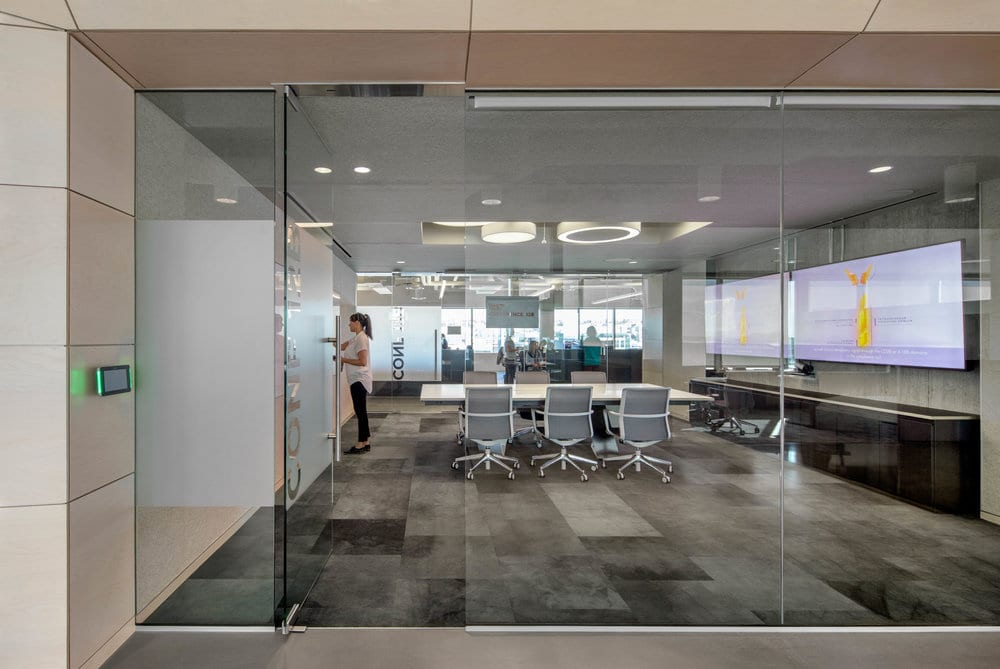 The office features a muted color palette. Image courtesy of Bill Timmerman.