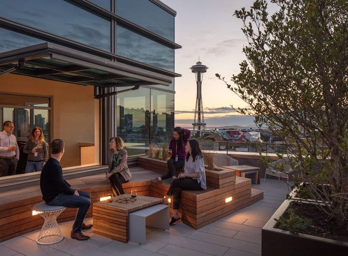 This outdoor space, with its Space Needle view, is a great place for employees to unwind or catch a breath of fresh air. Image courtesy of Bill Timmerman.