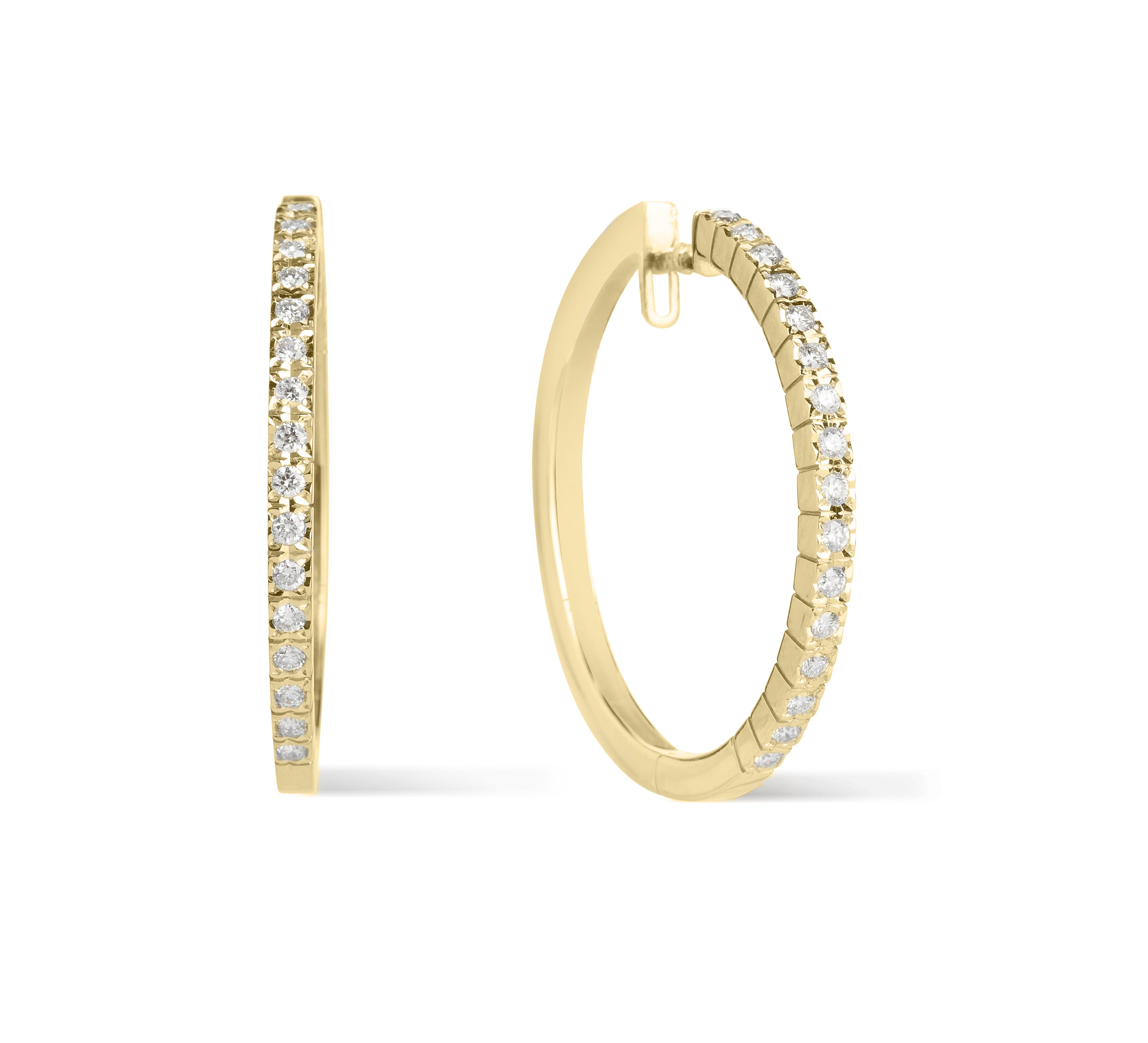 Dazzling, round, brilliant-cut diamond hoop earrings in a simplistic, claw setting in solid 18ct yellow gold with a secure catch for extra safety; hand-finished and made in England. (Approximate size to scale as a 50p!)