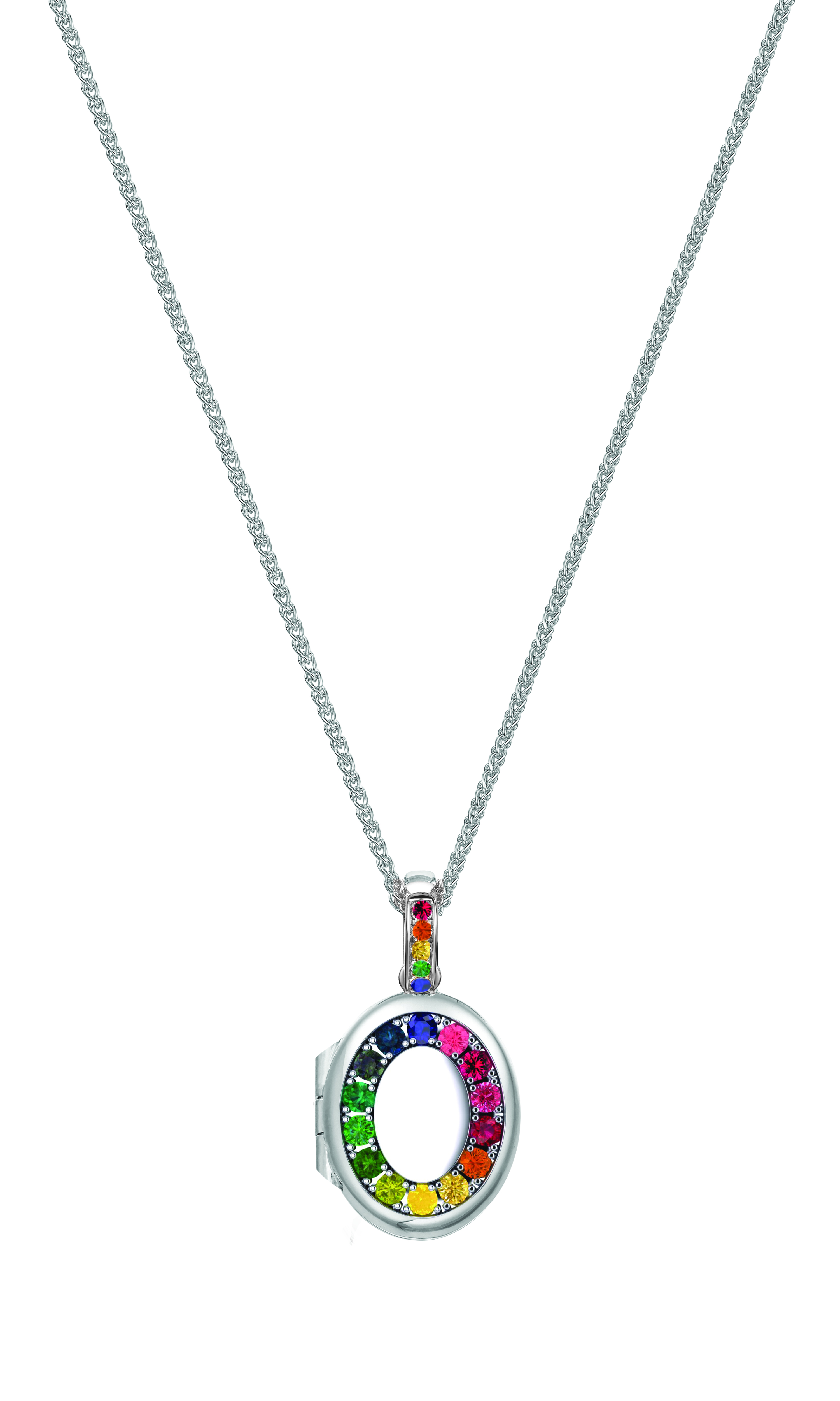 Best of British: Kay Bradley in collaboration with Charles Green & Son, Birmingham have created this unique British design to celebrate the lifting of lockdown with this Rainbow sapphire keep-sake, memory locket. British-made & bespoke-made, multi-gemstone, Rainbow sapphire oval locket with Rainbow sapphire bail in solid 9ct white gold. Approx. carat content: 0.30cts All coming soon and available to pre-order within 8 weeks. Chains are sold separately.