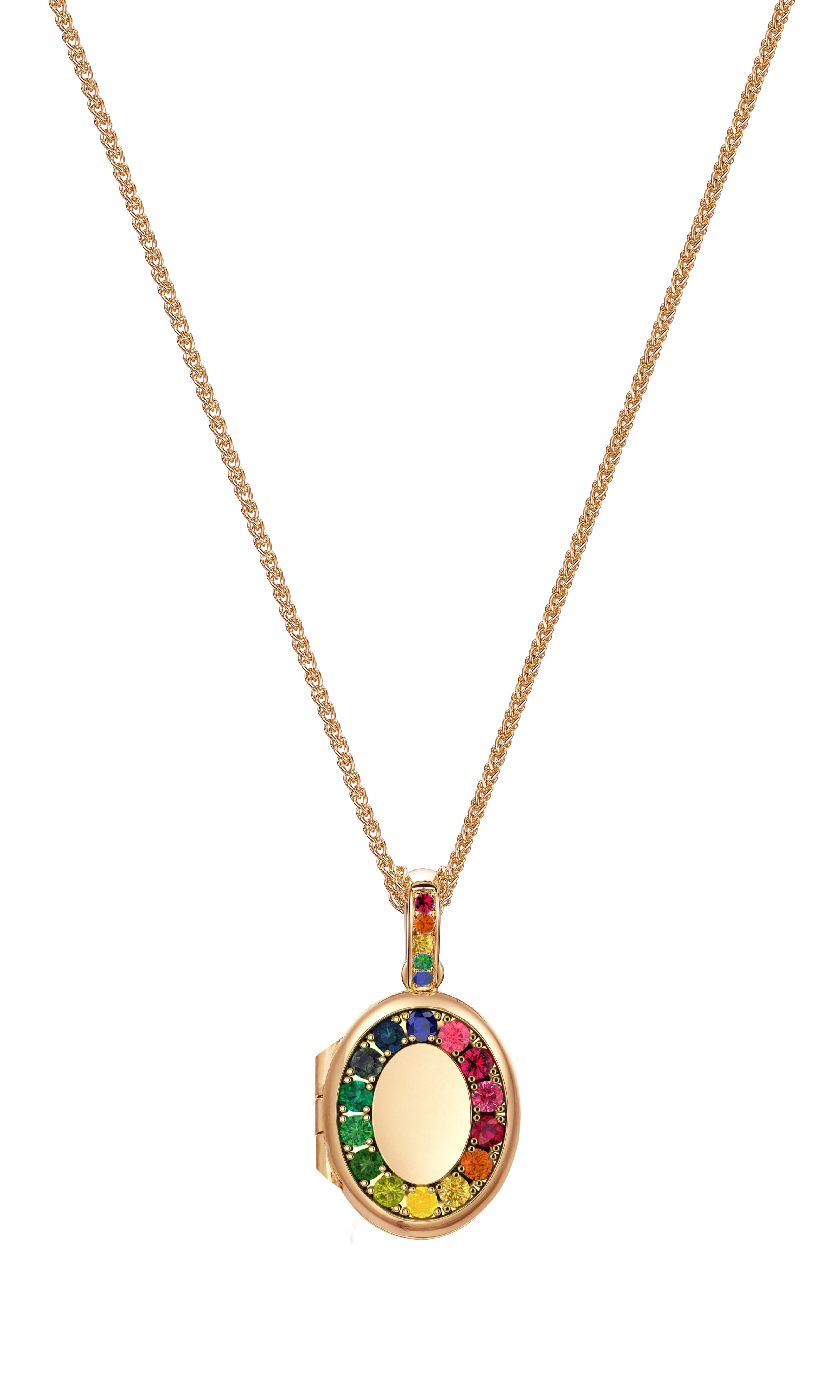 Best of British: Kay Bradley in collaboration with Charles Green & Son, Birmingham have created this unique British design to celebrate the lifting of lockdown with this Rainbow sapphire keep-sake, memory locket. British-made & bespoke-made, multi-gemstone, Rainbow sapphire oval locket with Rainbow sapphire bail in solid 9ct rose gold. Approx. carat content: 0.30cts All coming soon and available to pre-order within 8 weeks. Chains are sold separately.