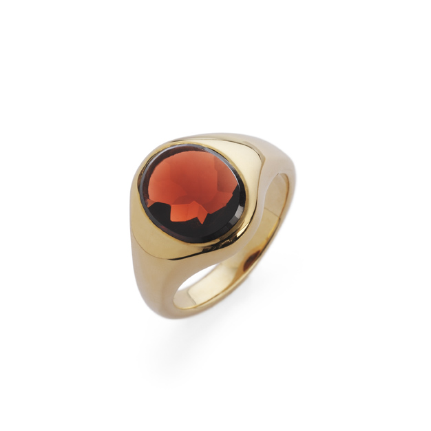 Hand-crafted, oval-cut, faceted garnet gemstone signet ring in solid 9ct yellow gold. Available to pre-order.