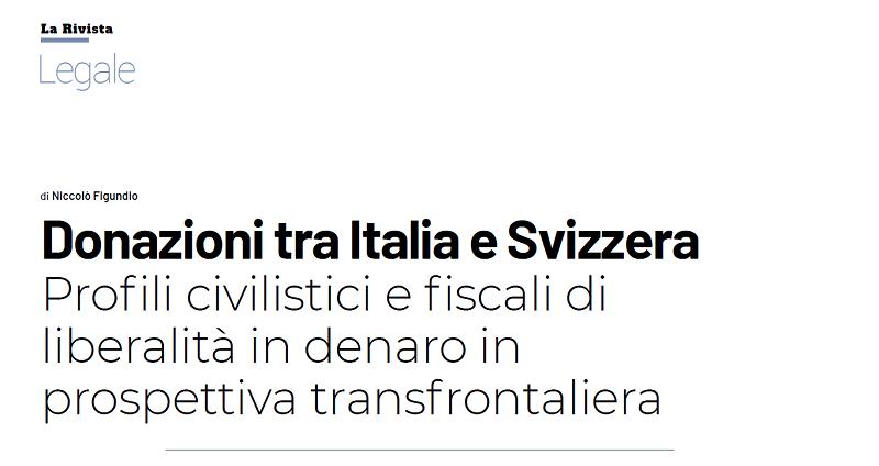 Donazioni tra Italia e Svizzera