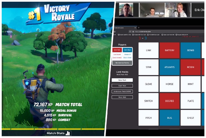 Team playing Fortnite online