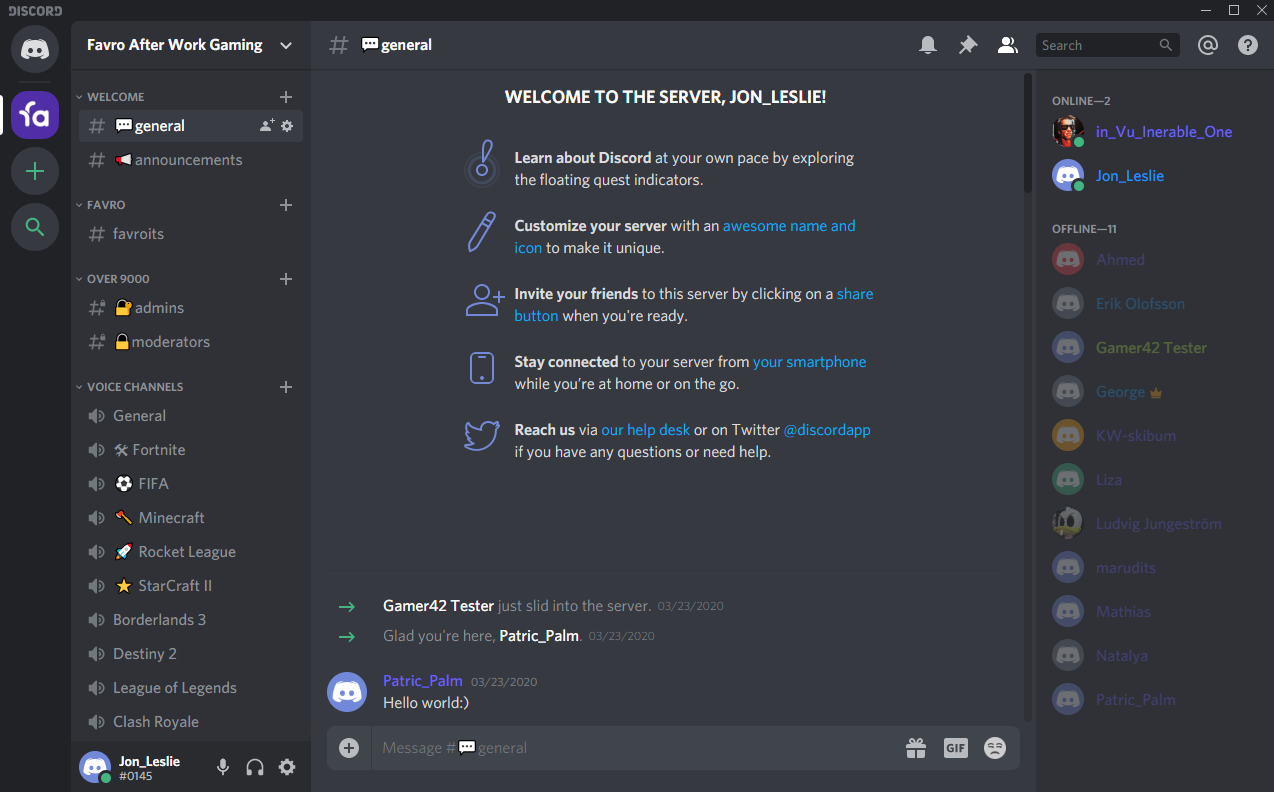 Screenshot of the Favro After Work Gaming Discord channel where a ser just joined the server