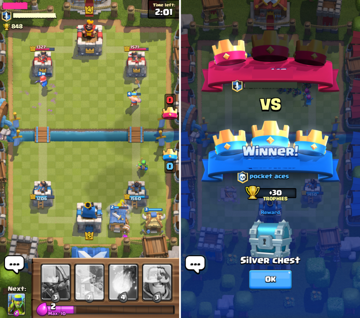 Screenshots showing the mobile game Clash Royal