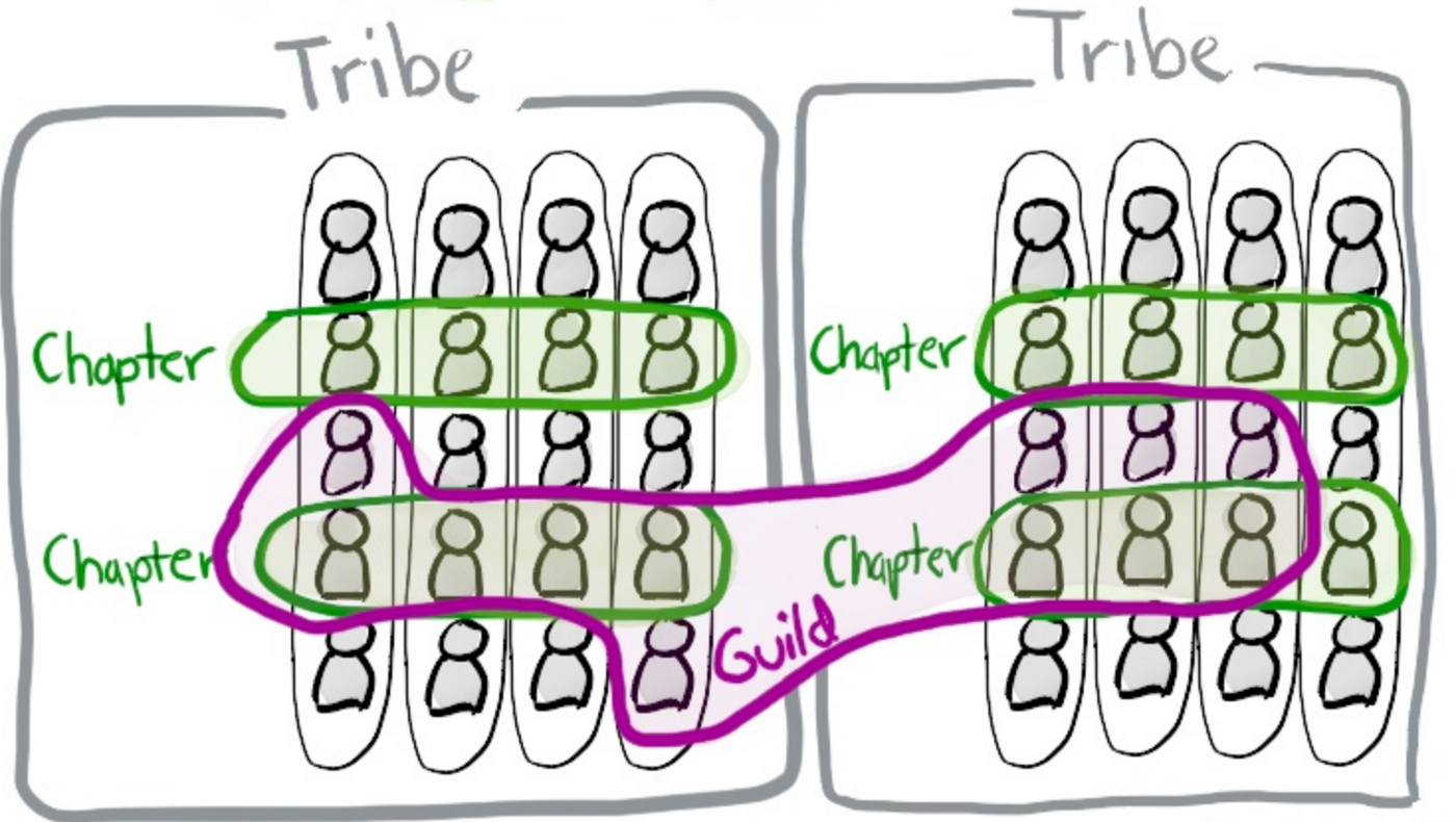 Illustration of teams working in tribes, chapters and guilds