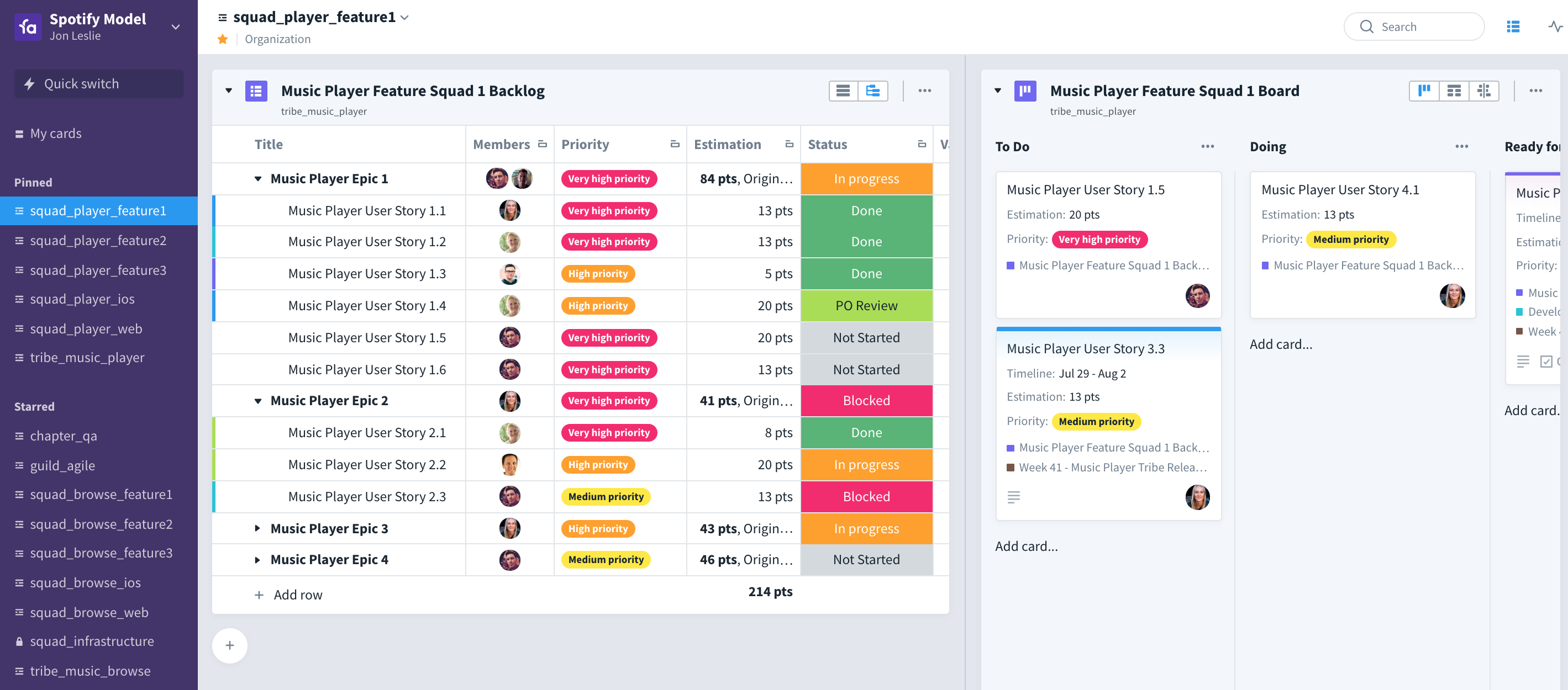 Favro boards with backlog and kanban