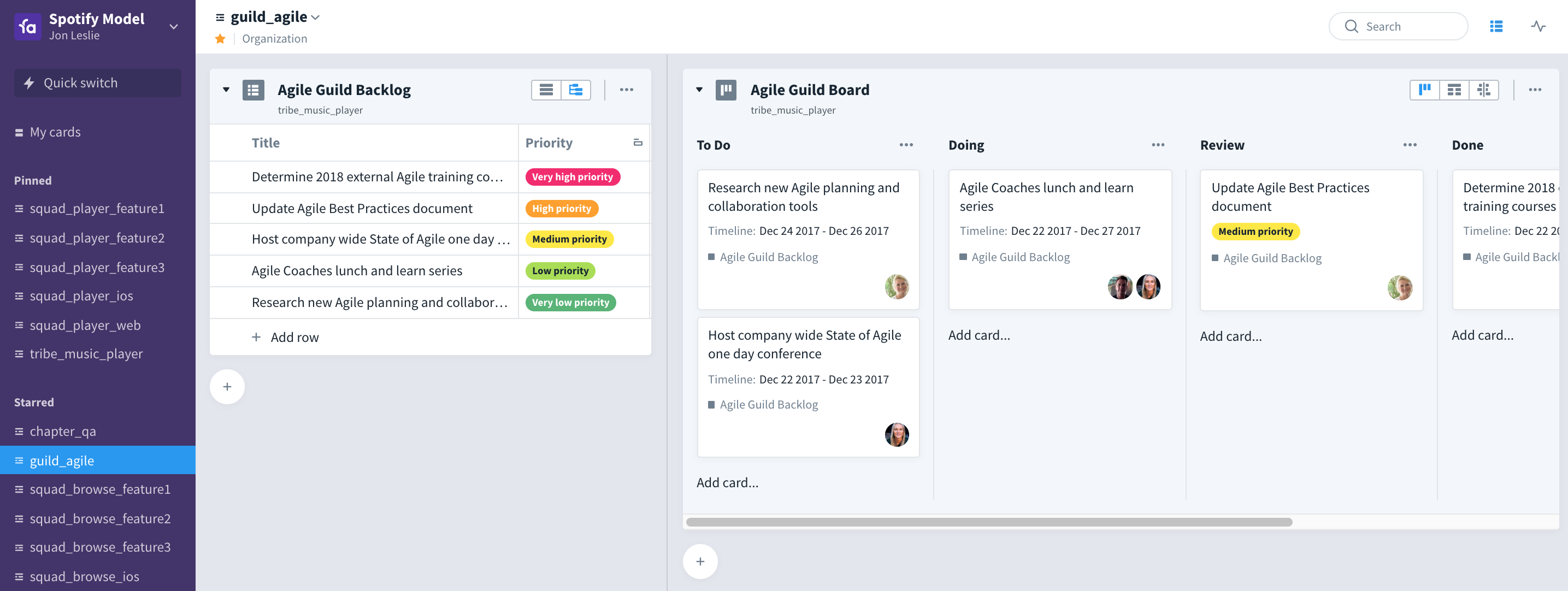 A guild backlog and agile workboard in Favro