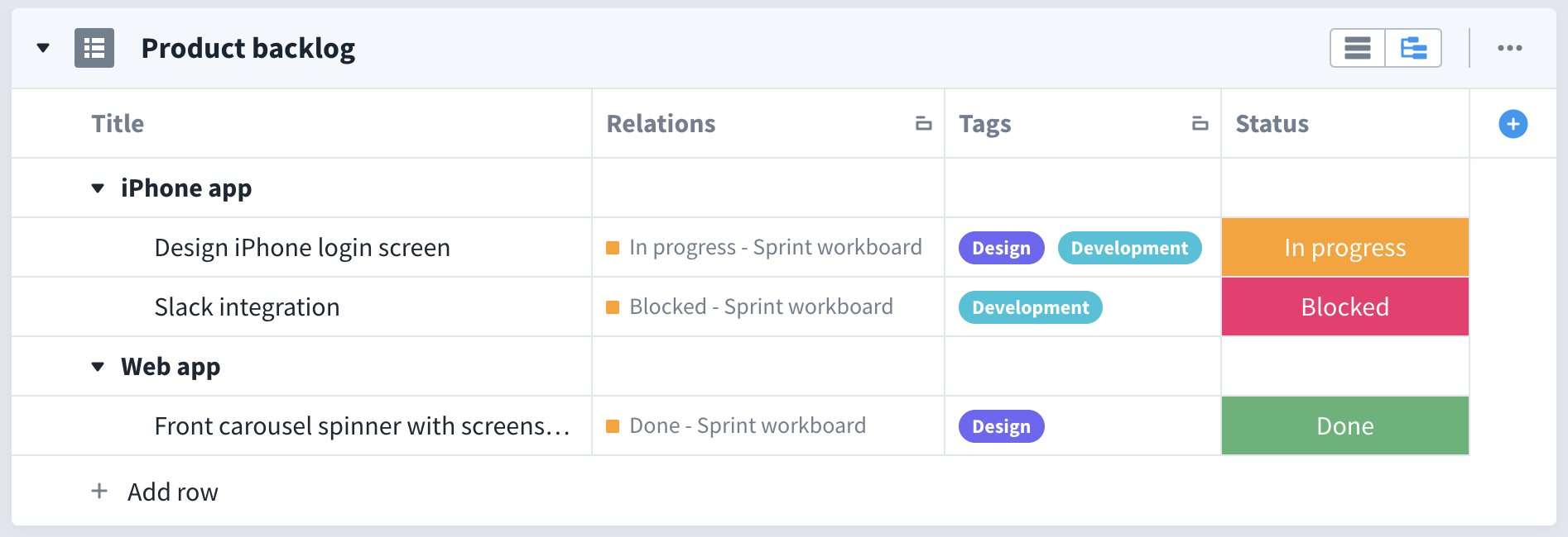A product backlog in favro