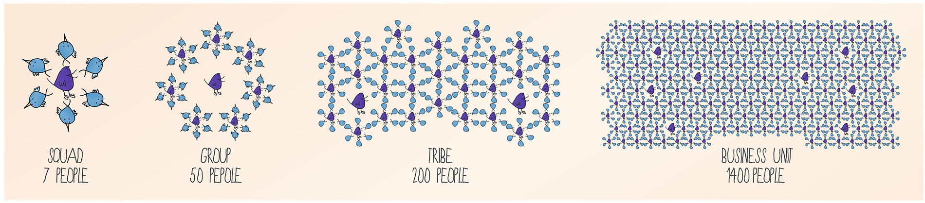chart showing squad, group, tribe and business unit