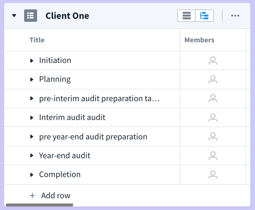 audit phases client sample from favro board