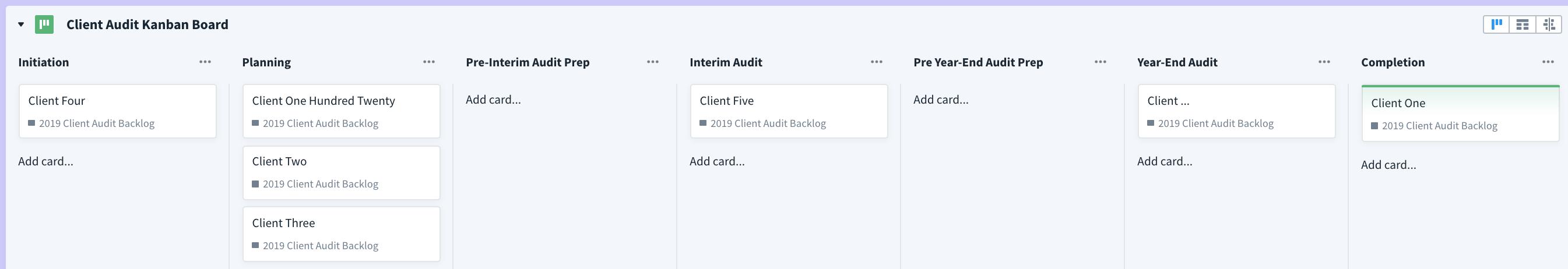 Client audit kanban board