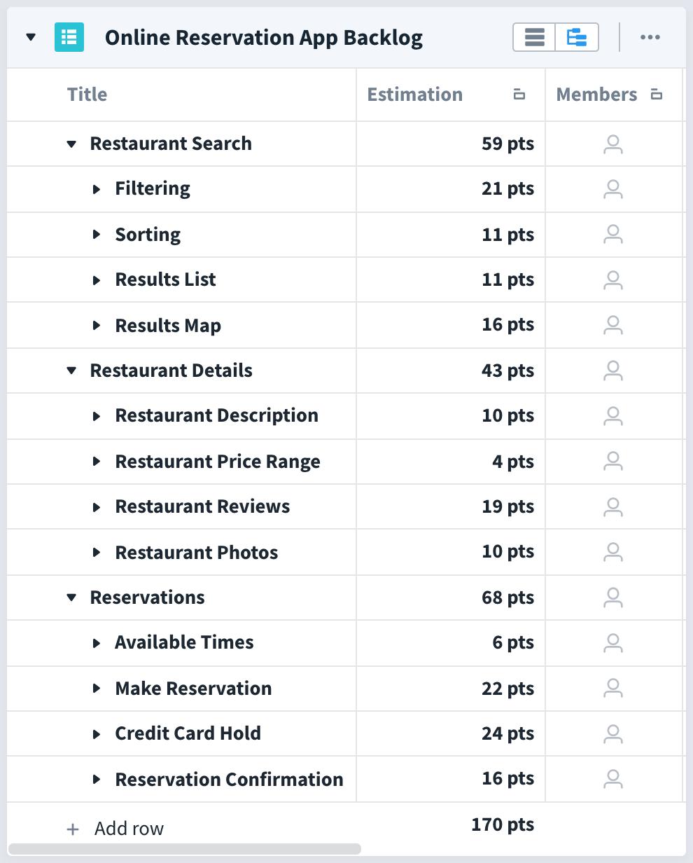 favro backlog example of an online restaurant reservation app