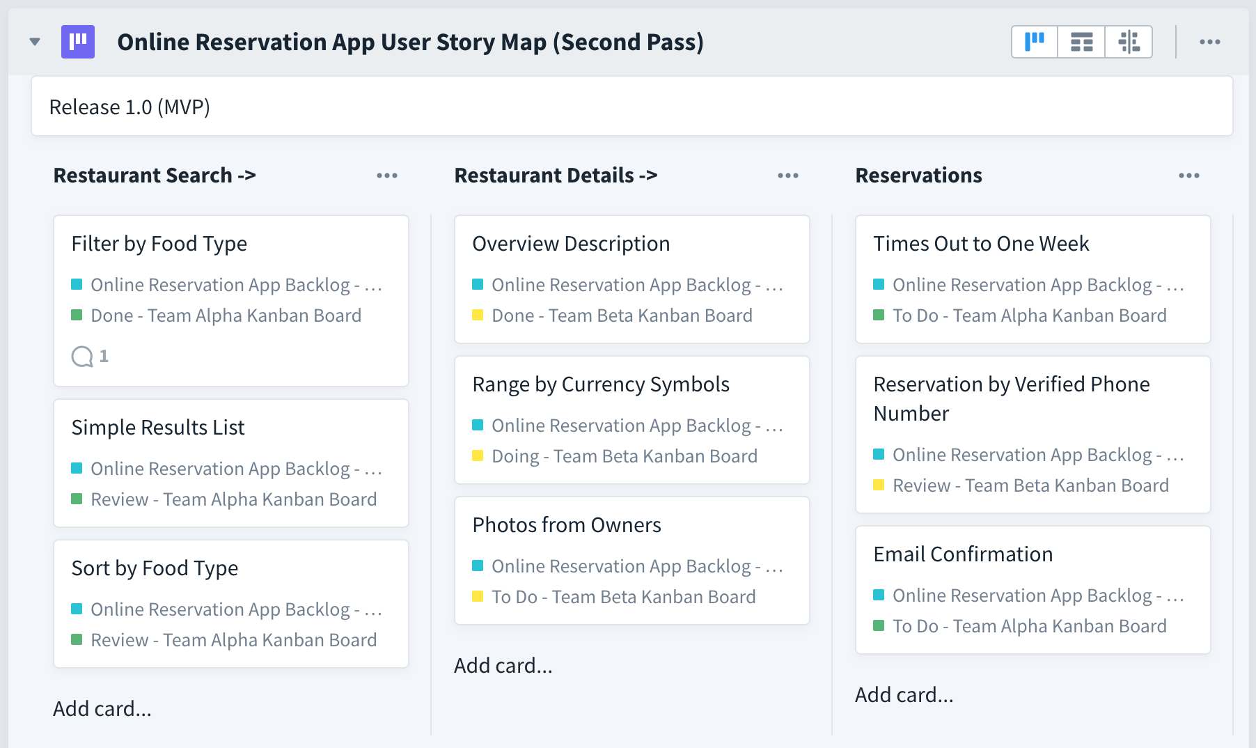 reservation app in favro, second and final pass