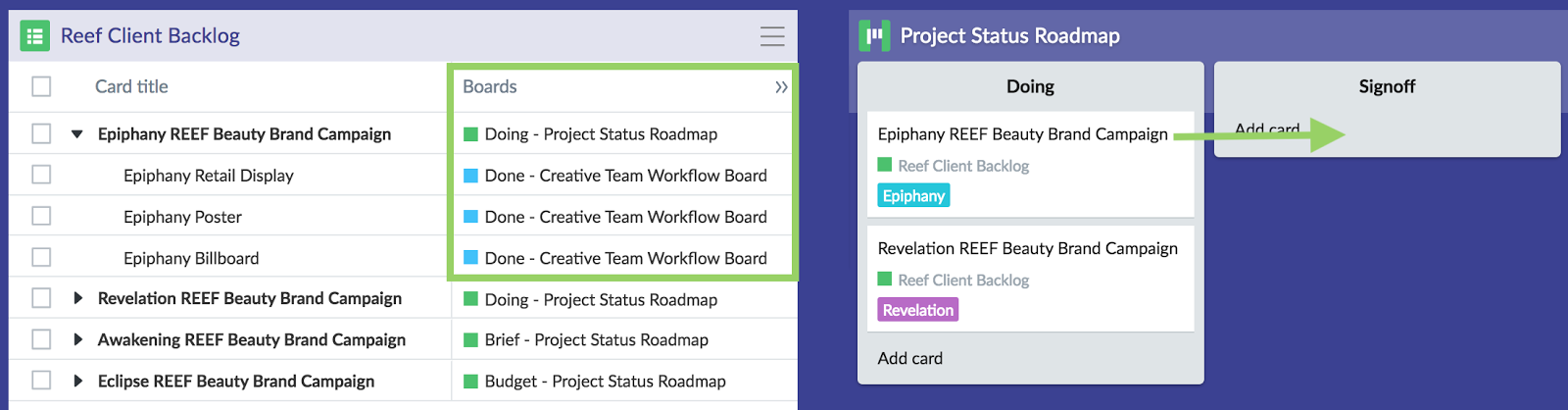 Monitor child backlog item status from the backlog so you know when to move the parent items on their board