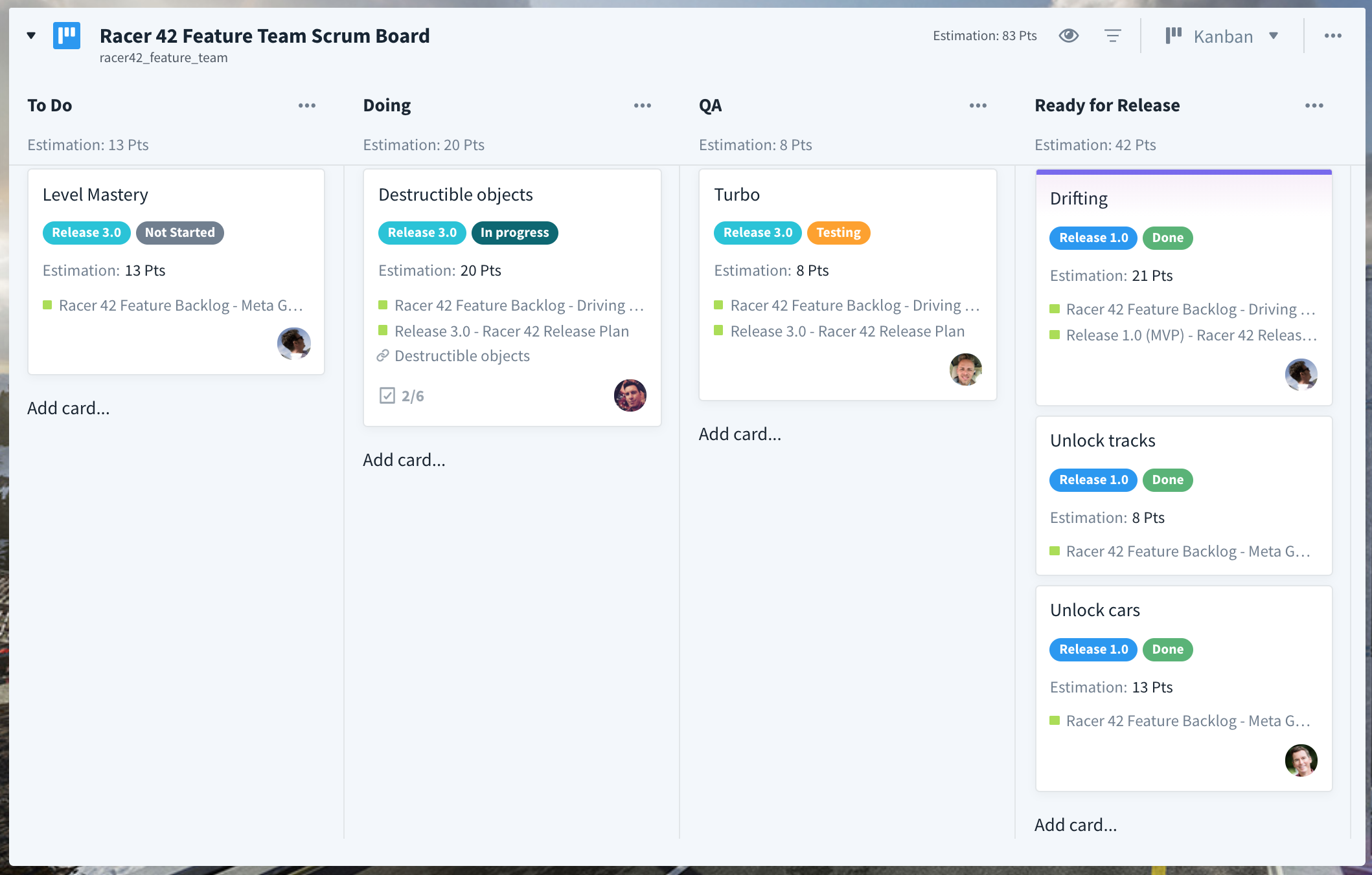 Feature Team Board with Estimate Aggregation