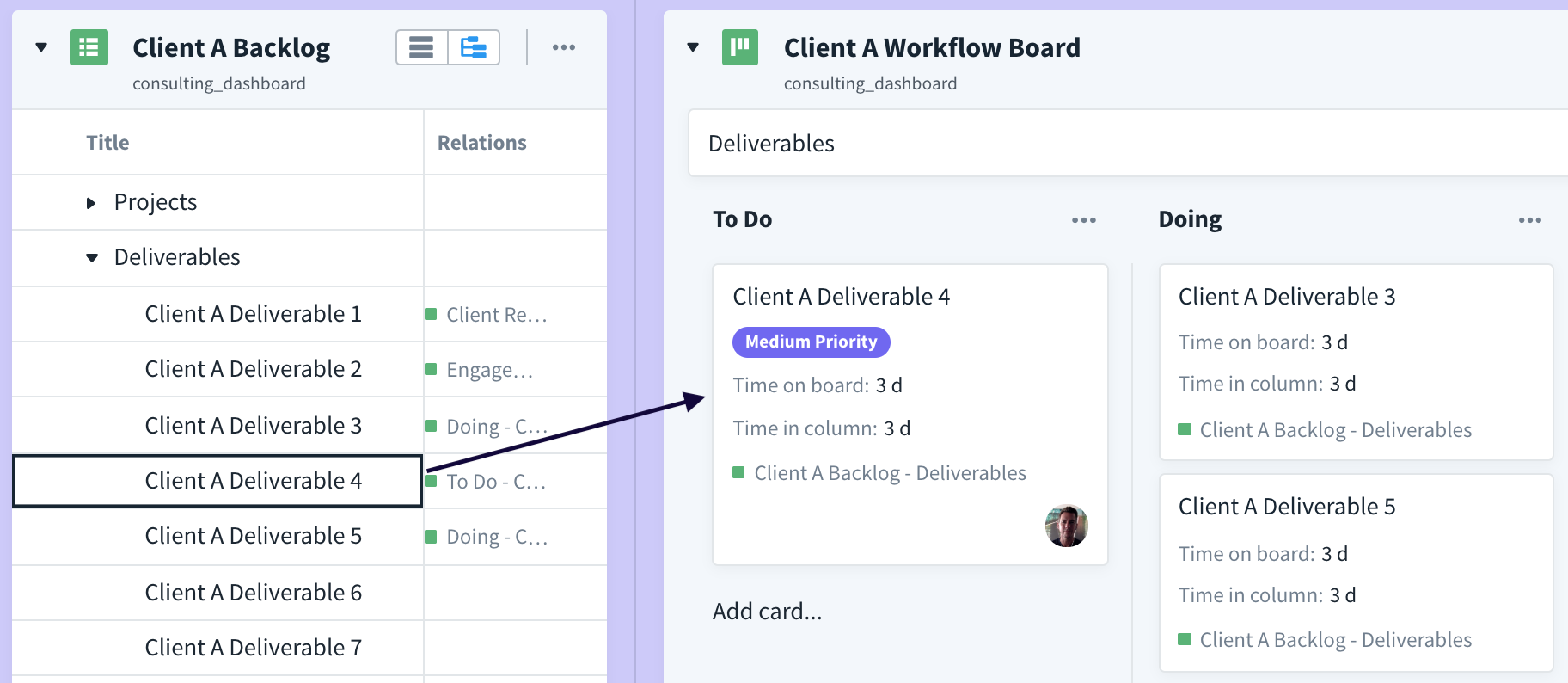 client backlog items are pulled onto the Kanban board