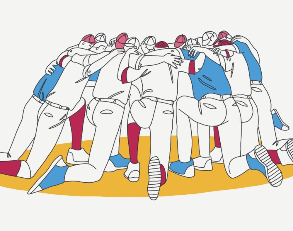 sports team cartoon team gathering