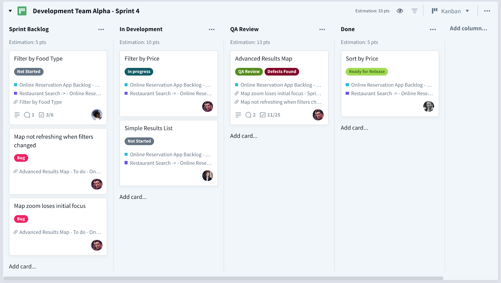 Development team sprint board with features and bugs