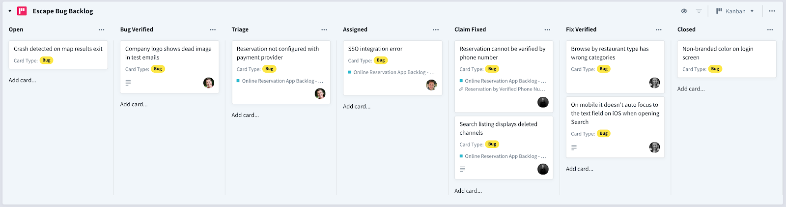 Escaped bug backlog switched to Kanban view