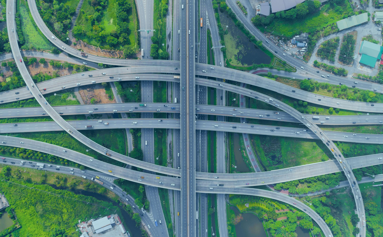 data analytics illustration of complex roadway interchange