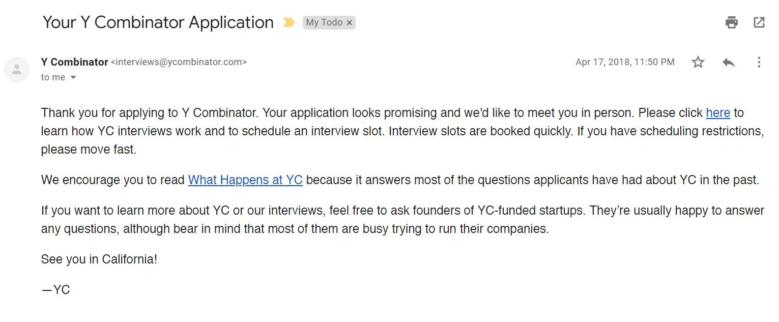 Y Combinator acceptance email