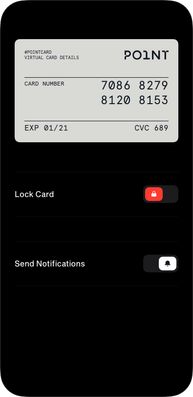An animated PNG showing how you can hide your virtual card information with a single touch