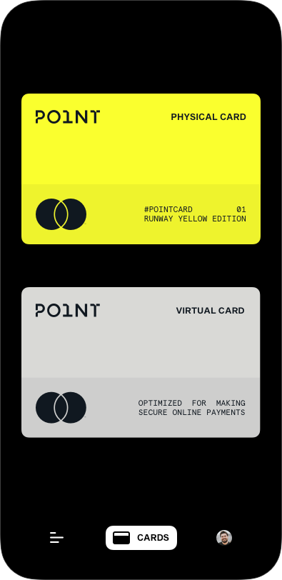An image of the Point App showing two virtual cards, one a virtual version of your physical card and the other a virtual card for online purchases only