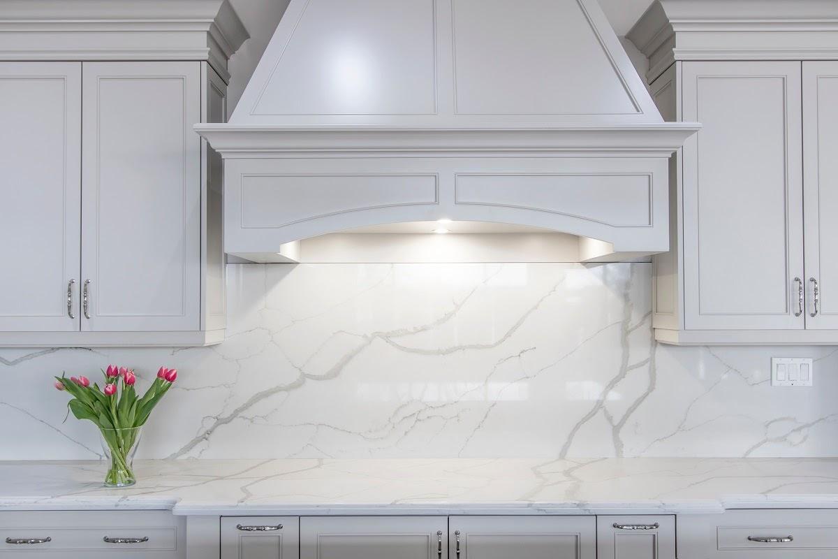 quartz kitchen countertop with backsplash
