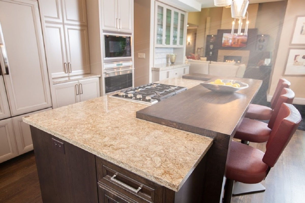 Modern brown kitchen quartz countertop with white cabinets