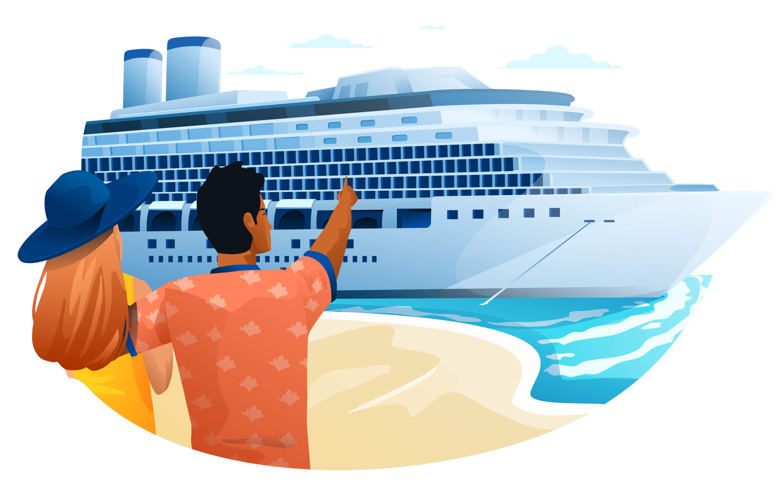 Illustration of a couple pointing at a cruise ship