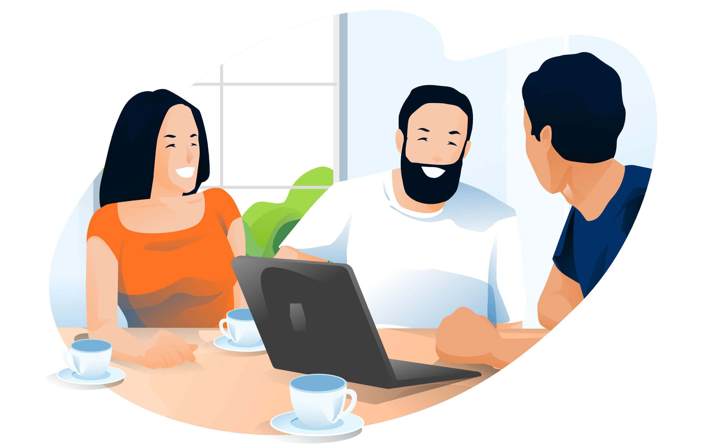 Illustration of three friends smiling around a laptop