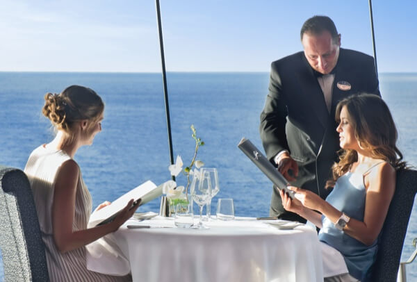 Women dining on a cruise ship