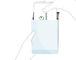Illustration of putting the box back in the envelope