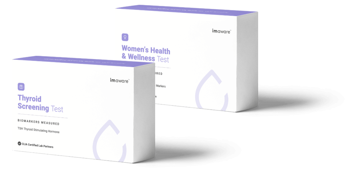 Two boxes of imaware's health tests