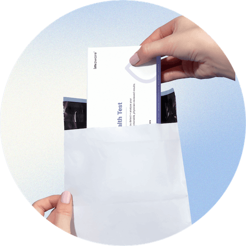 A hand putting the product box back in an envelope