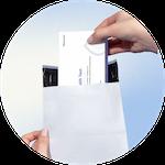 Test box being put inside envelope