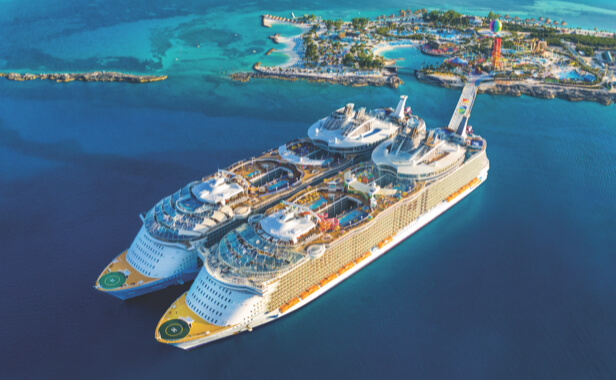 Two large Royal cruise ships docked at Perfect Day Cococay