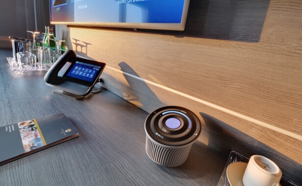 ZOE free voice-enabled virtual assistant on a desk