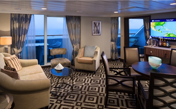 Seating area of a luxurious Azamara suite