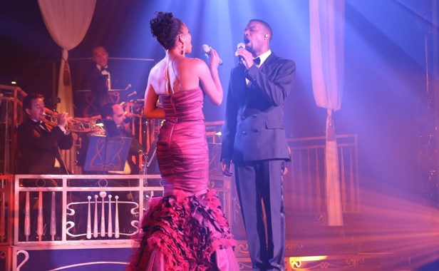 Live duet performing a show on stage