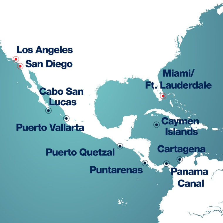 Map of Eastern Caribbean ports