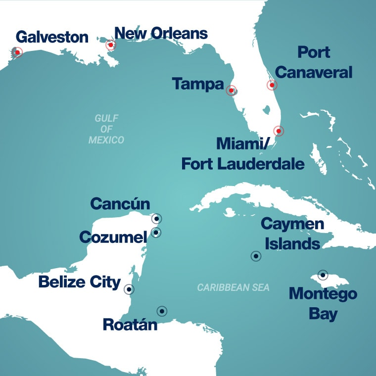 Map of Western Caribbean ports