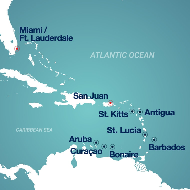 Map of Southern Caribbean ports