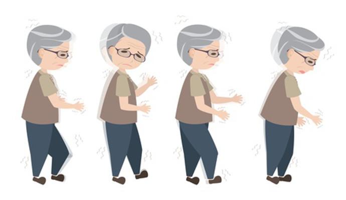 Image of 4 shaky seniors walking